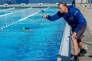 Terry coaching poolside in 2016