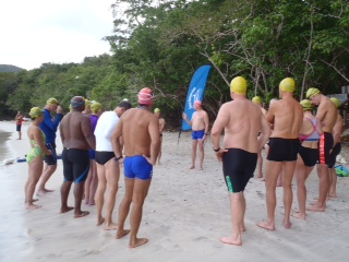 Terry brief's the group on the beach before a swim off the shores of St John in the U.S.V.I.